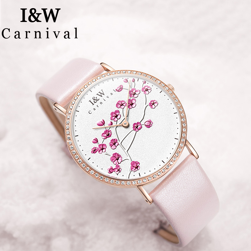 I&W Top Brand Luxury Diamond Quartz Watch Women Carnival Ladies Plum Emboss Watches Waterproof Wristwatch Clock bayan kol saati simple style mesh steel women watches top brand luxury rose gold black ladies quartz hours woman dress watch bayan kol saati