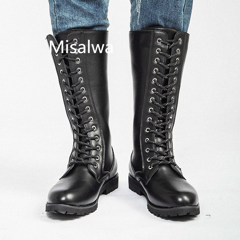 Misalwa Motorcycle Boots Mens Lace up Mid-calf Military Combat Designer Black Leather Large Size 38-45 Spring Army