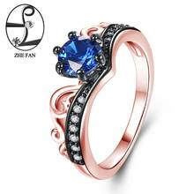 ZHE FAN Blue Engagement Rings Women AAA Cubic Zirconia Love Jewelry Black Rose Gold Color 2 Tone Plate Christmas Gifts