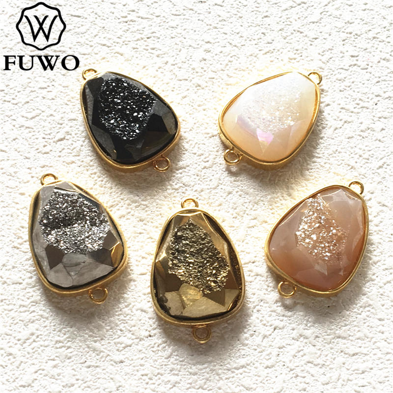 Ограненные капли воды FUWO Aura, Форма Подвески, соединитель с золотой рамкой, обрезанная для изготовления ювелирных изделий PD250
