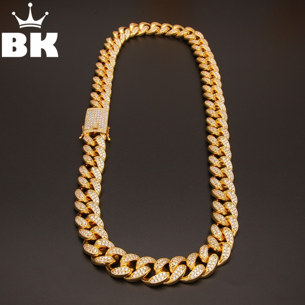 THE BLING KING 20mm CZ Cuban Chains Gold Prong Miami Cuban Chocker Big Lock Cubic Zirconia Necklace Chain