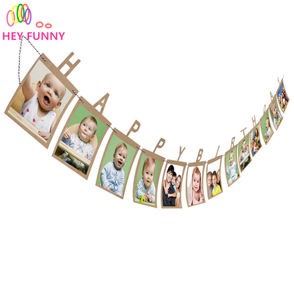 1set Happy Birthday Photo Banner DIY Monthly Paper One Year Old Baby Photo Booth Birthday Banner &wedding anniversary supplies