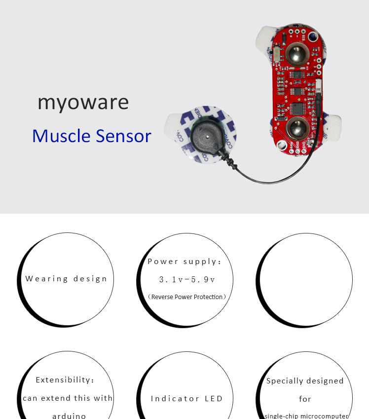 Myoware Muscle sensor EMG Envelope Raw EMG signal output microcontroller  Arduino develop