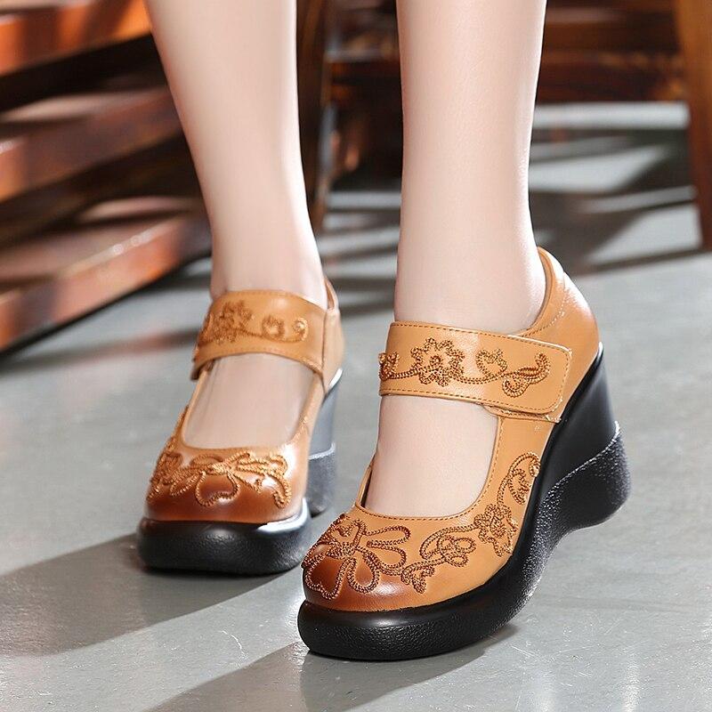 ФОТО National wind leather women shoes 2017 handmade vintage women shoes platform thick bottom high heels women pumps