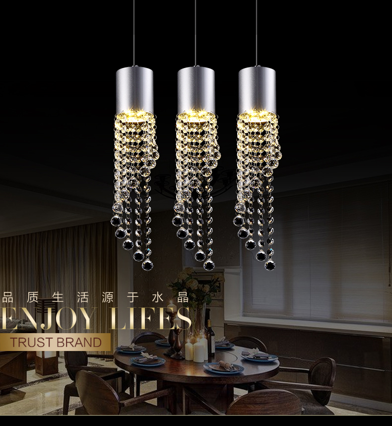 5W Led Lamp Modern Crystal Pendant Light Kitchen Dining Room Shop Silver Metal 3 Heads Home Rope Lighting Fixtures 220V5W Led Lamp Modern Crystal Pendant Light Kitchen Dining Room Shop Silver Metal 3 Heads Home Rope Lighting Fixtures 220V