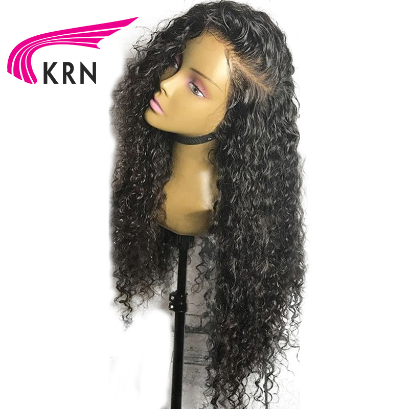 KRN Curly Pre Plucked Full Lace Human Hair Wigs With Baby Hair Bleached Knots Brazilian Remy Hair Lace Wigs Full End 130 Density