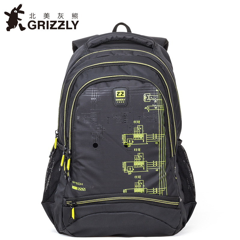 GRIZZLY Fashion Men Backpack Nylon Multifunction Casual Mochila for Teenager Boy School Bag Waterproof Large Capacity