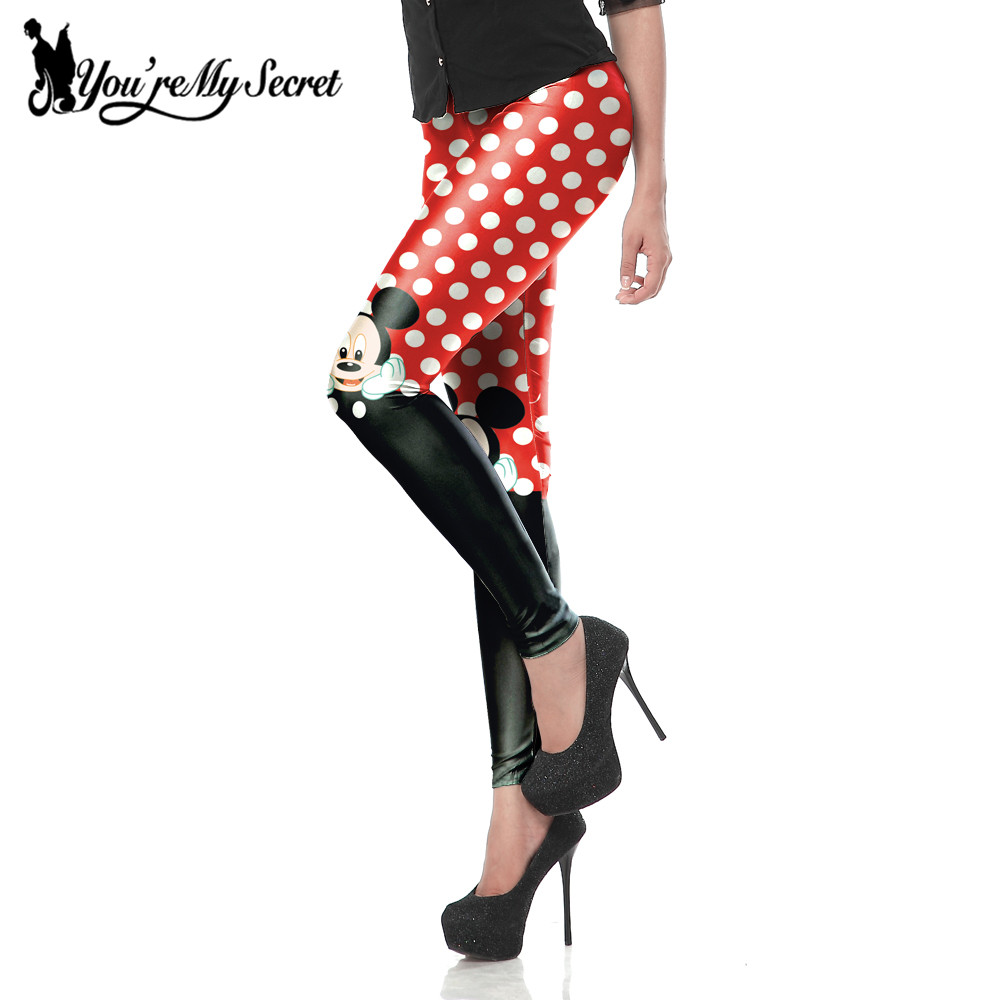 [Youre My Secret] New Arrival Cute Mini Mouse Red Dot Printed Sexy Slim Fitness Ankle Knee Length Leggings For Women