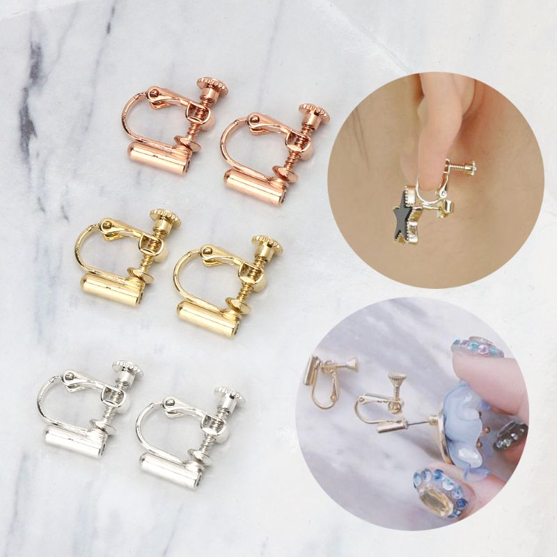 1 Pair Clip On Earring Converters No-pierced Ears Turn Any Studs Into A Clip-On