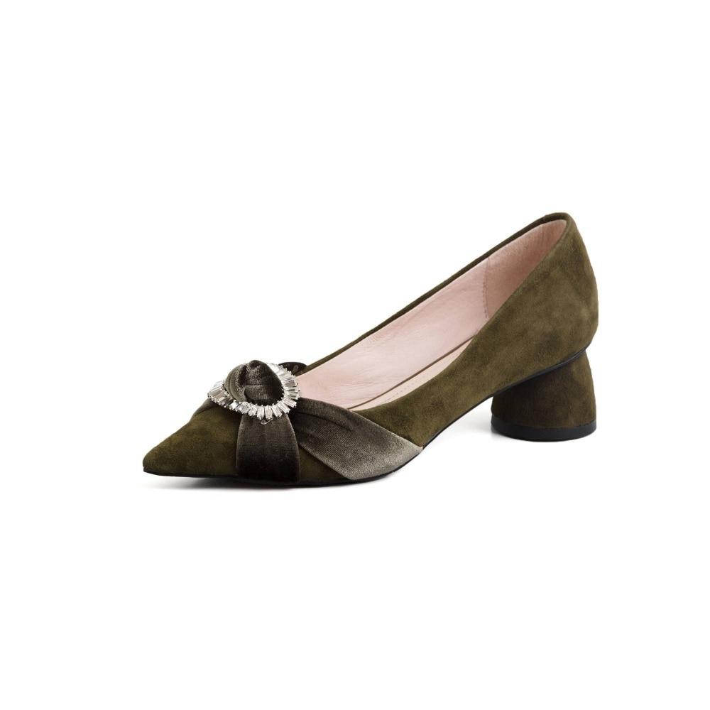 Pompes Discothèque Bout Green army Grande Talons Lenkisen Taille Chaussures Sexy Cuir Cristaux Décoration En Mélangées Femmes L21 Noir Pointu Med Couleurs Véritable 71Agn67