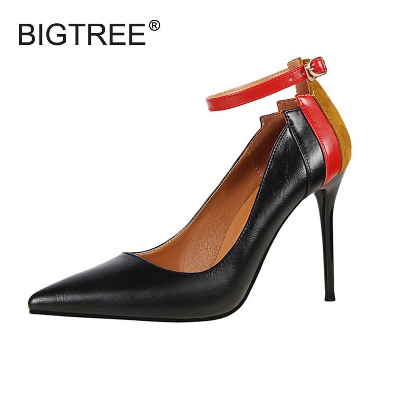New Pointed Toe Shallow Mouth High Heels Party Shoes Fashion Color Block Ankle Strap Women Pumps High Quality Ladies Stilettos new fashion thick heels woman shoes pointed toe shallow mouth ankle strap thick heels pumps velvet mary janes shoes