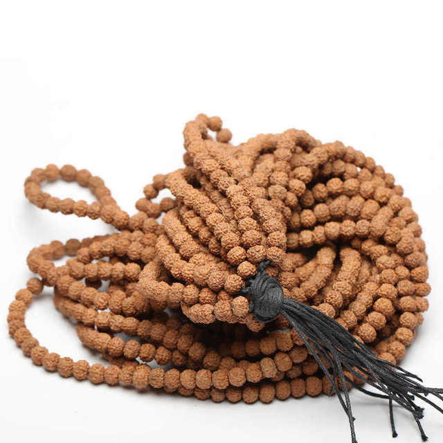 US $39 9 |TSB0530 Wholesale Real Natural Small Rudraksha Bodhi Seeds 108  beads strand 7 8 9mm Good Quality Original Color-in Beads from Jewelry &