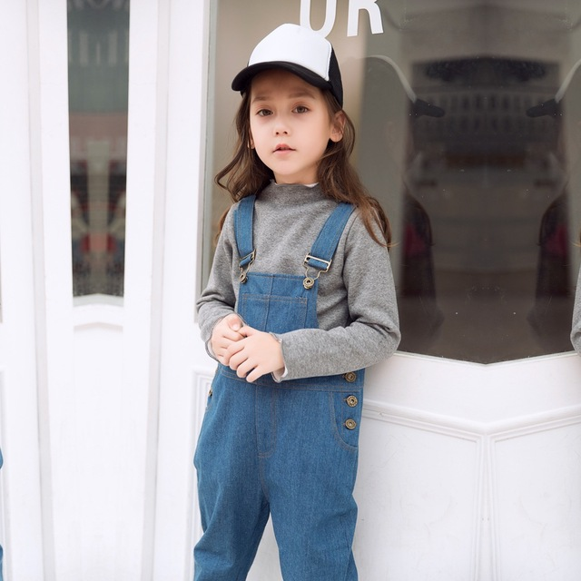 84582cb1127e 2019 Spring Autumn Children s Girls Rompers Jeans Korean Casual Nine Harlan Trousers  Fashion Baby Kids Overalls Pants for 3-12y