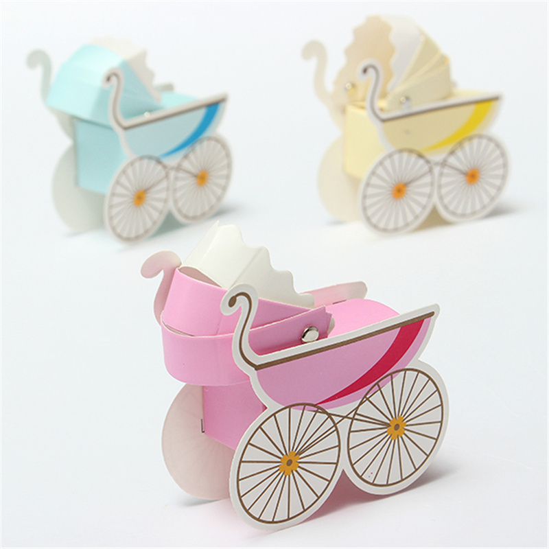 3pcs Lovely Wedding Event Supplies Decoration Accessories Stroller Pink  Blue Baby Shower Baptism DIY Candy Favors Gift Bag Box In Gift Bags U0026  Wrapping ...