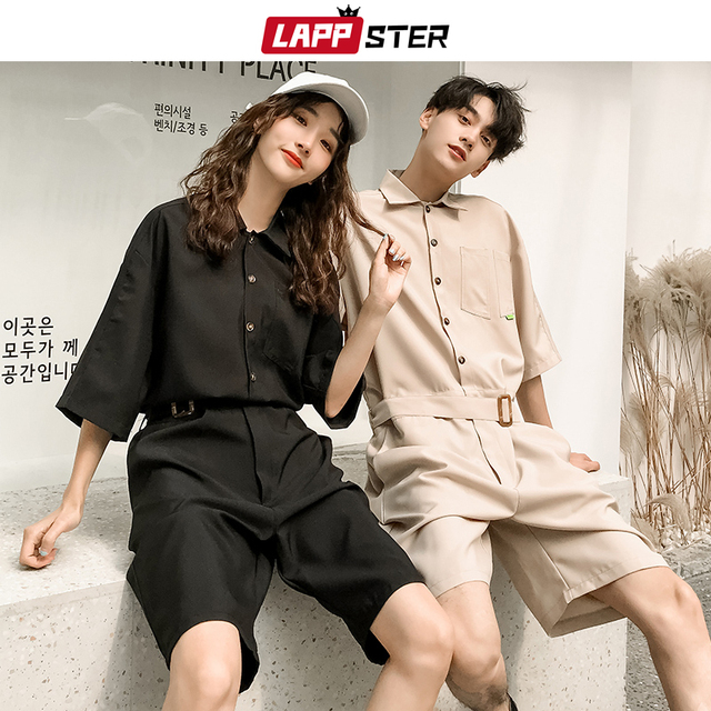 LAPPSTER Jumpsuit Men Harajuku Belt 2020 Summer Couple Women Jumpsuit Plus Size Black Cargo Overalls Pants Korean Style Fashion 47