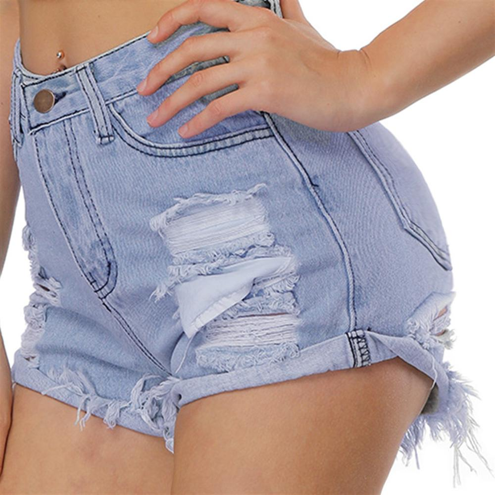 2018 Hole washing denim shorts female Sexy Jeans Blue Color Shorts fashion waist loose wide leg pants Gril Hot Shorts