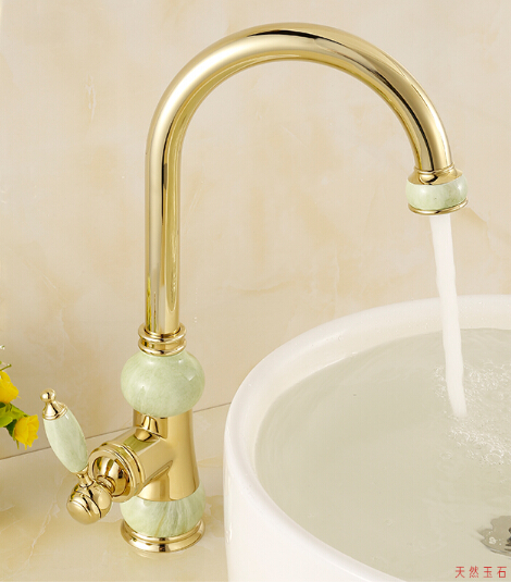 European natural jade and gold kitchen faucet hot and cold vegetables basin rotating taps all copper antique basin faucet free shipping jade & brass golden paper box roll holder toilet gold paper holder tissue box bathroom accessories page 6