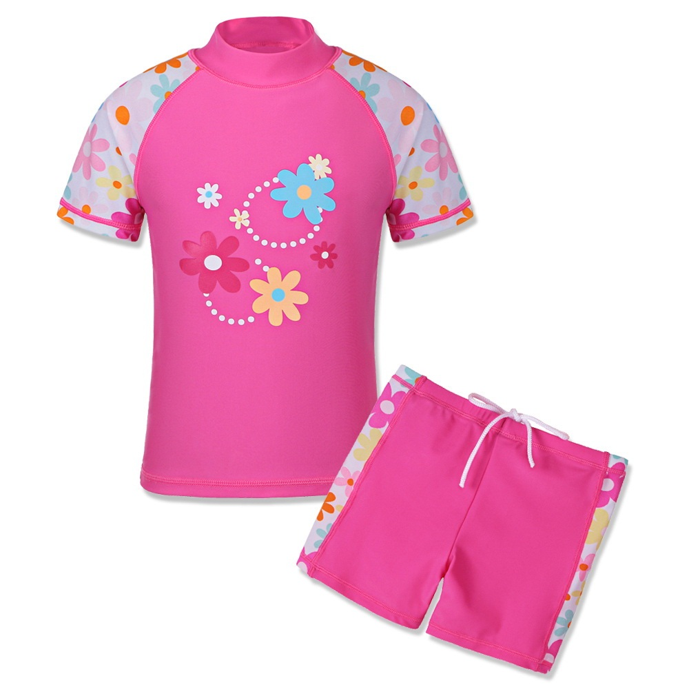 Cute Short Print Two Pieces Suits Kids Girls Tankini -9330