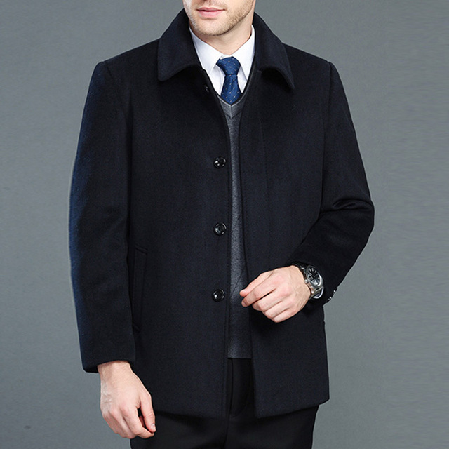 High quality cashmere coat men new style winter wool overcoat male turn down collar single breasted woolen outerwear 2 styles 3