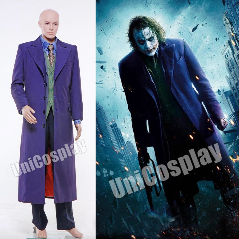 Batman Joker Halloween Costumes Dark Knight Cosplay Men's Set Winter Suit with Trench Coat Blazer Vest Shirt Pants