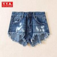 Vintage פרינג 'נשים חור ג' ינס מכנסיים קצרים מכנסיים קצרים ג 'ינס אחד כחול צבעים למתוח ציפר טוס מכנסיים קצרים ריקוד מוט סקסי Nightwear סופר