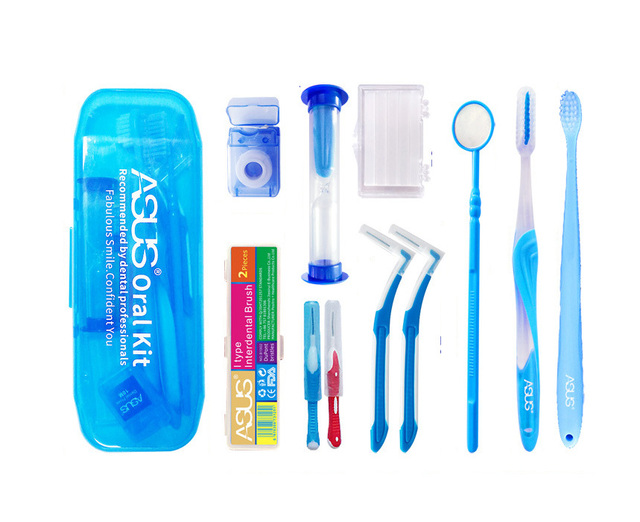 Oral Clean Tools Orthodontic Oral Care Kit, Tooth Brush Mouth Mirror Interdental Brush Dental Floss, Orthodontic clean suit
