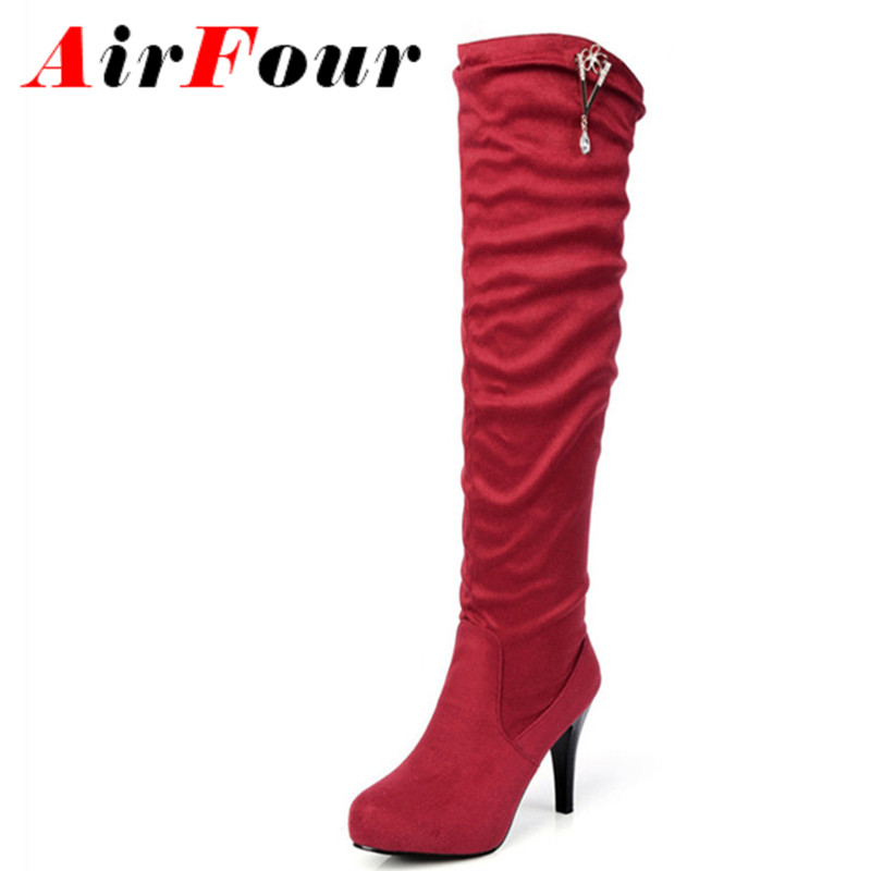 ФОТО Airfour High Heels Over-the-knee Boots Women Slip-on Rhinestone Platform Long Boots Female Red Black Brown Colors Shoes Woman