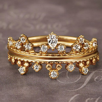 Royal Crown White CZ Golden 925 Sterling Silver Stackable Rings