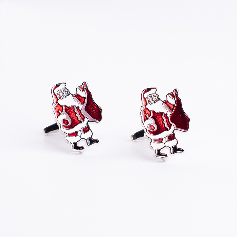 New Luxury Shirt Santa Claus cufflink for mens High Quality Enamel Cufflinks Jewelry Christmas gift