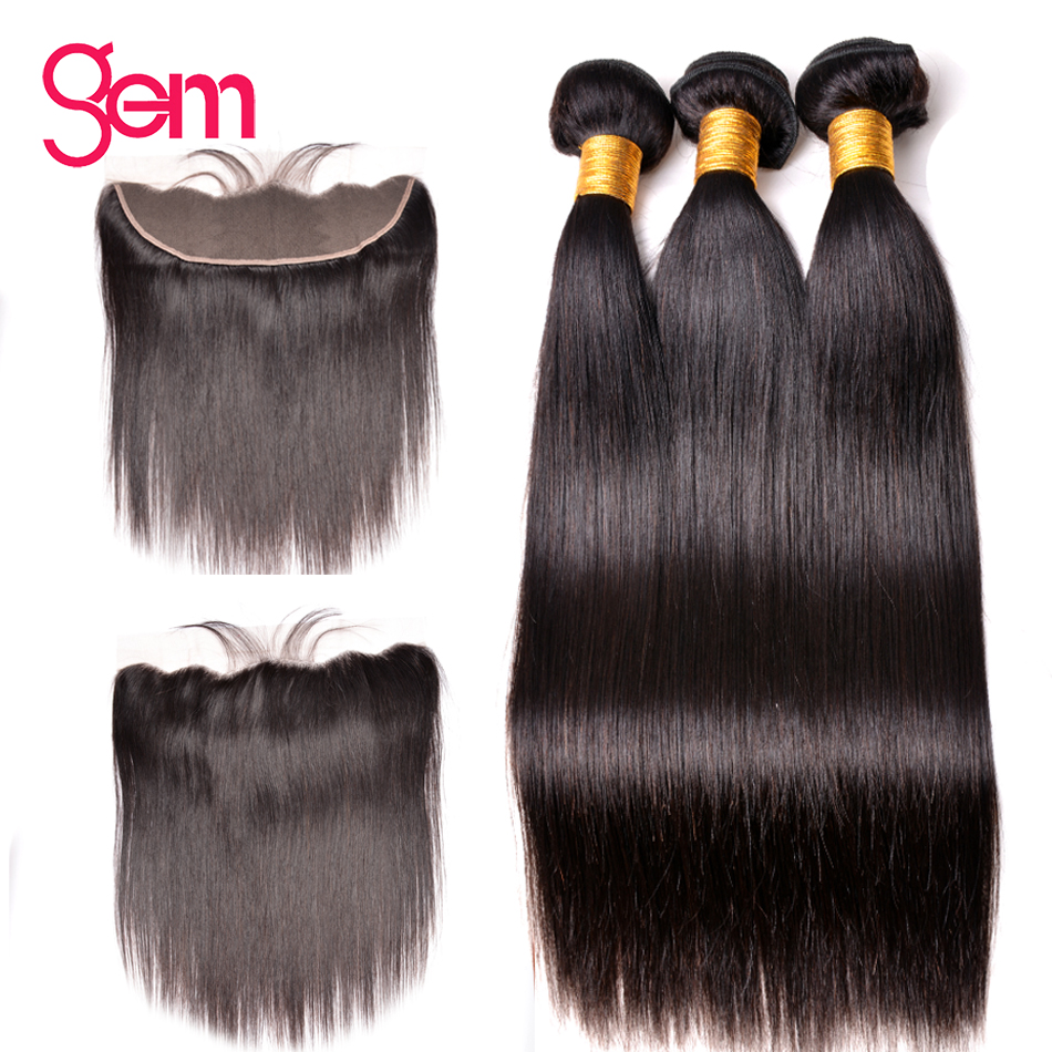 30 Inch Bundles With Frontal Brazilian Staright Hair Bundles With Frontal Human Hair Bundles With Lace