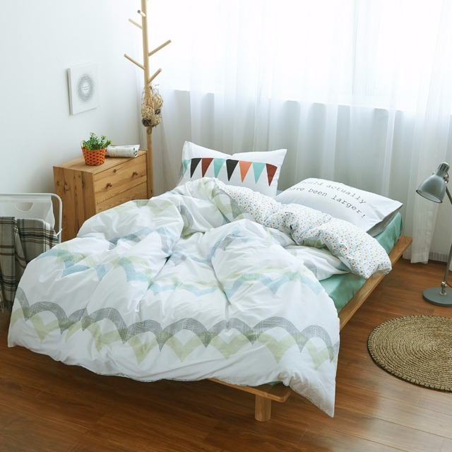 100 Cotton Stripes Wave Bedding Set Green Bed Sheet Custom Size White Duvet Cover Comforter Sets