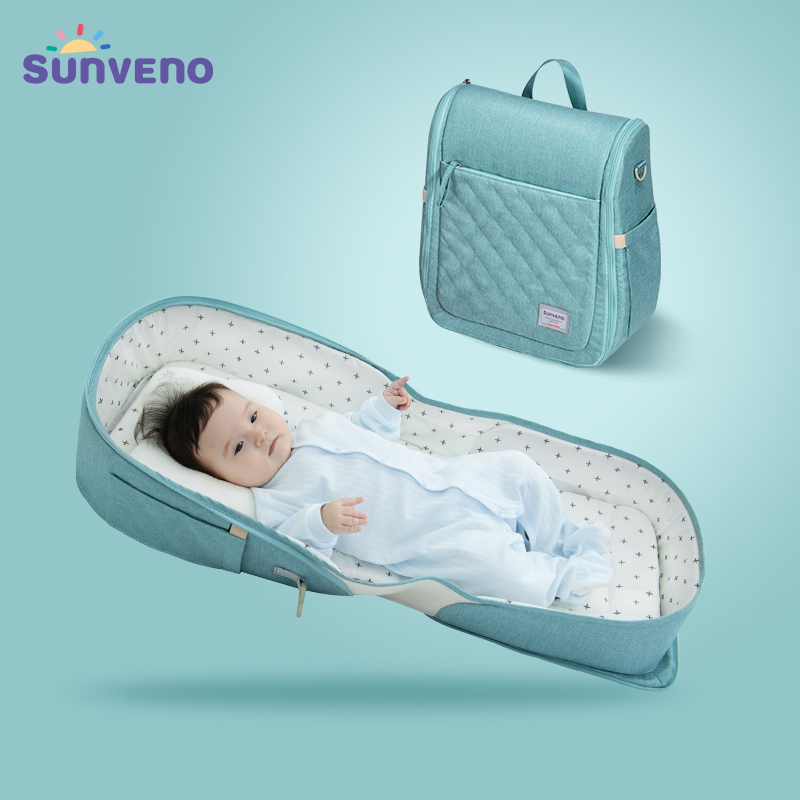 SUNVENO Baby Portable Bed Bag Foldable Newborn Travel Crib Carry on Nest Bed Diaper Bag Bed