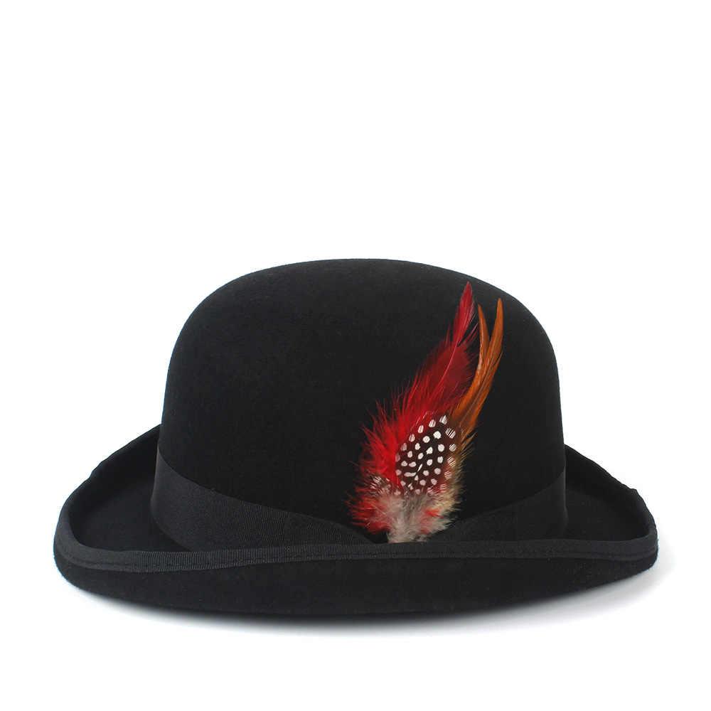 100% Австралийская Шерсть Войлок Дерби котелок шляпа Мужчины Женщины платье смокинг костюм стимпанк котелок 4 Szie s m l xl