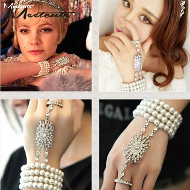 Meetcute Chaude Stretch Perles Perle Bracelets Pour Femmes The Great Gatsby Bijoux Blink Strass Mariée Bracelets Pulseira Feminina