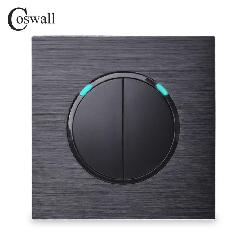 Coswall lujoso 2 Gang 1 Way botón de presión aleatorio interruptor de luz de pared con indicador LED Panel de Metal de aluminio negro
