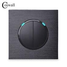 Coswall 2 Gang 1 Way Casuale Fare Clic Su On / Off Interruttore Della Luce A Parete Con Indicatore LED Nero/Grigio Argento pannello di alluminio del Metallo R12 02
