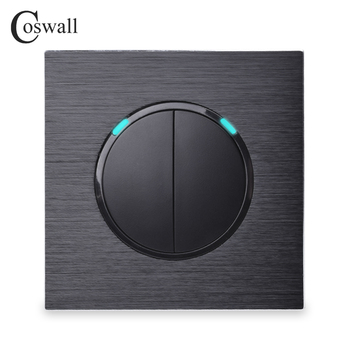 Coswall 2 Gang 1 Way Random Click On / Off Wall Light Switch With LED Indicator Black Silver Grey Aluminum Metal Panel R12-02 - discount item  40% OFF Electrical Equipment & Supplies