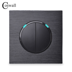 Coswall Luxurious 2 Gang 1 Way Random Click Push Button Wall Light Switch With LED Indicator Black Aluminum Metal Panel