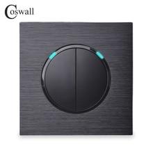 Coswall interruptor de parede, 2 gang, 1 modo, clique em on/off aleatório, indicador de led, preto/prata, cinza painel de metal de alumínio R12 02