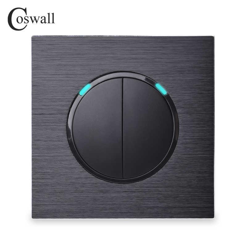 Coswall luxury 2 Gang 1 Way losowe kliknięcie włącznik/wyłącznik ścienny włącznik ze wskaźnikiem led czarny aluminiowy metalowy panel
