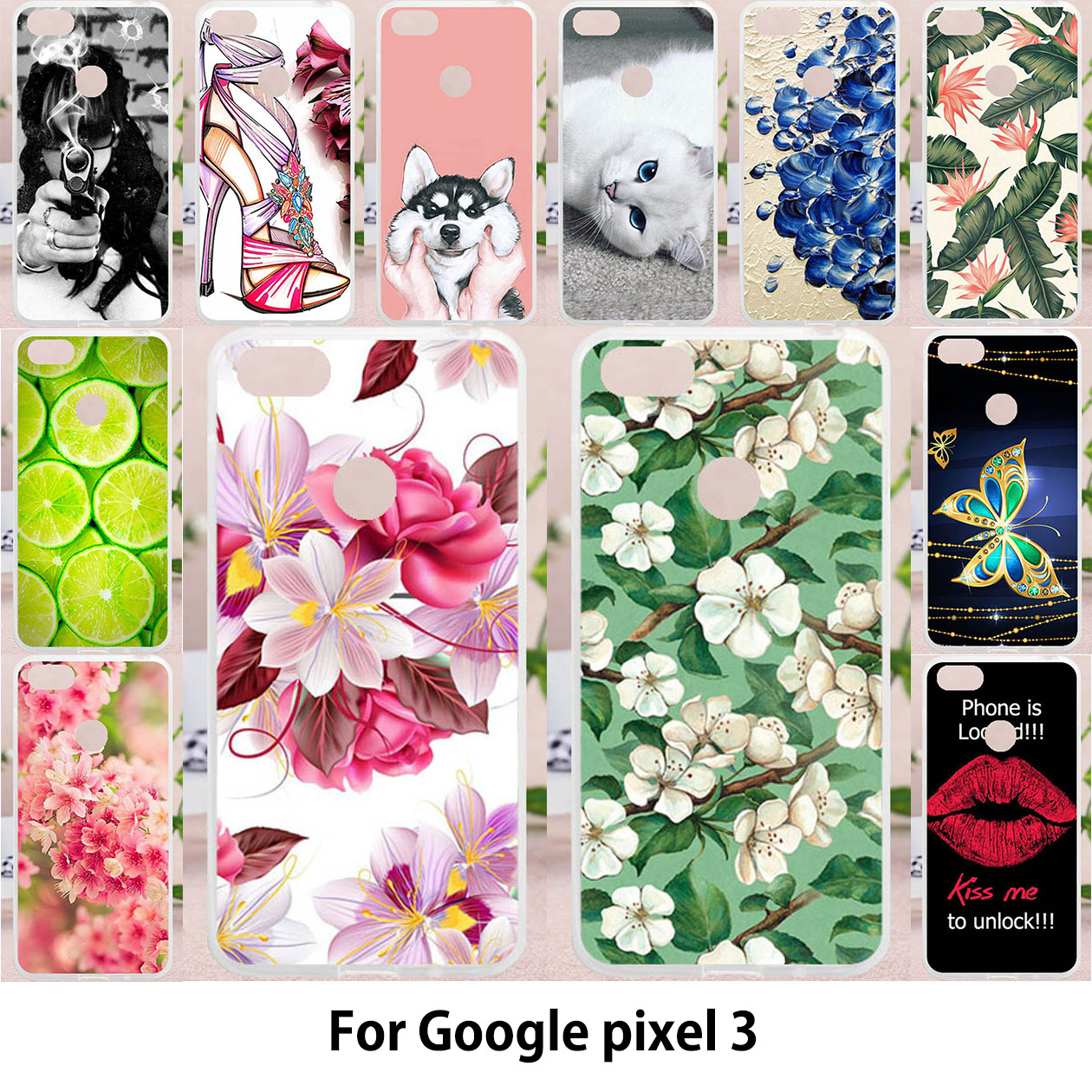 Cases For HTC Google Pixel 3 Pixel3 Covers 5.4 Inch Silicone Soft Painting Bags Flower Patterned Cover Housings Shell