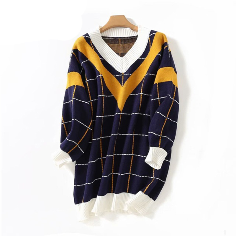 HSA 2018 Autumn New Women Sweater Dress V Neck Loose Sweater And Pullover Jumpers Patchwork Plaid Long Sweaters Roupas Femininas