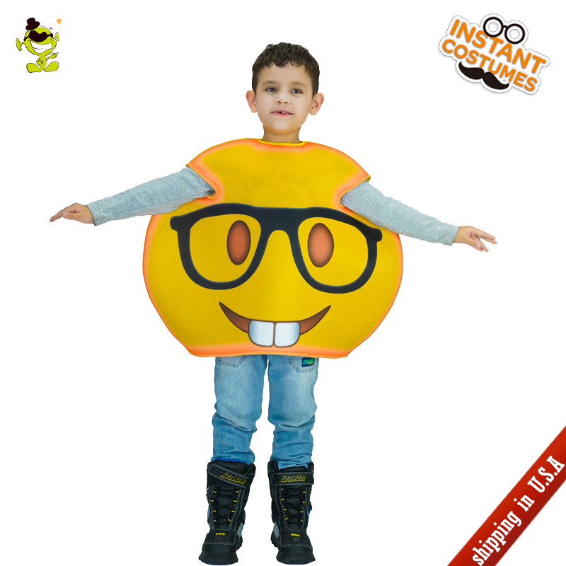 QLQ New Arrival Kids Glasses Emoji Costume Role Play Funny Emoticon Fancy Dress Halloween Party Imitation Childs Emoji Jumpsuit