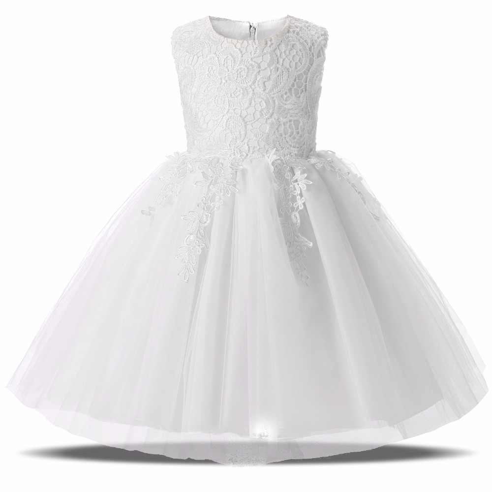 49292f9e0afb 2017 Summer Lace Kids Fairy Dresses For Baby Girl First Birthday Party Wear  Infant Christening Gown