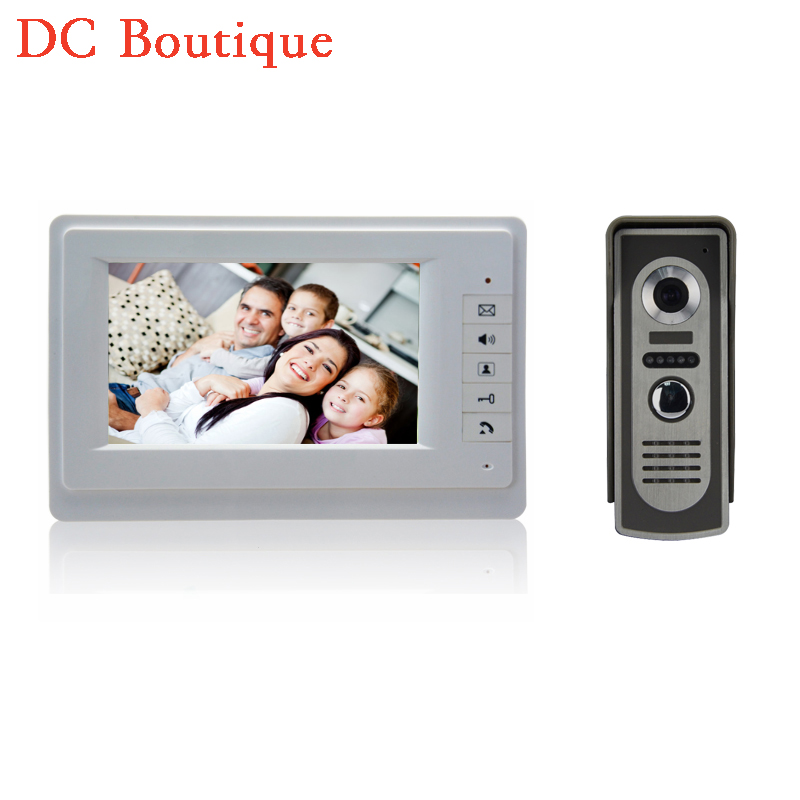 (1 set) Home use 1 to 1 Video door phone smart home system Video intercom waterproof camera 7 inch color monitor free shipping land use information system