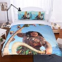Disney Moana Kids Bed Bedding Duvet Cover Sets Cartoon Girls Bedclothes Pillowcase Children Gift Soft Twin Queen Bed Linen Set