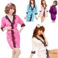 Sexy Lingerie Underwear Set Faux Silk Lace Sleepwear Bathrobe Stylish Gown New