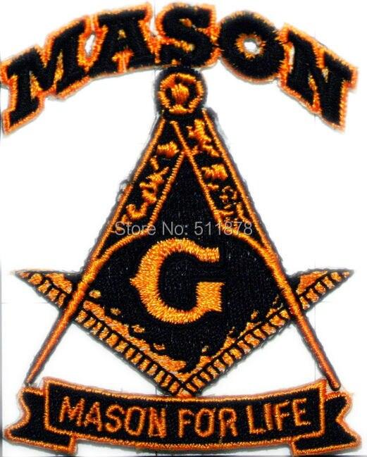 MASONIC SKULL EMBROIDERED PATCH iron-on FREEMASON SQUARE COMPASS MASON LOGO new