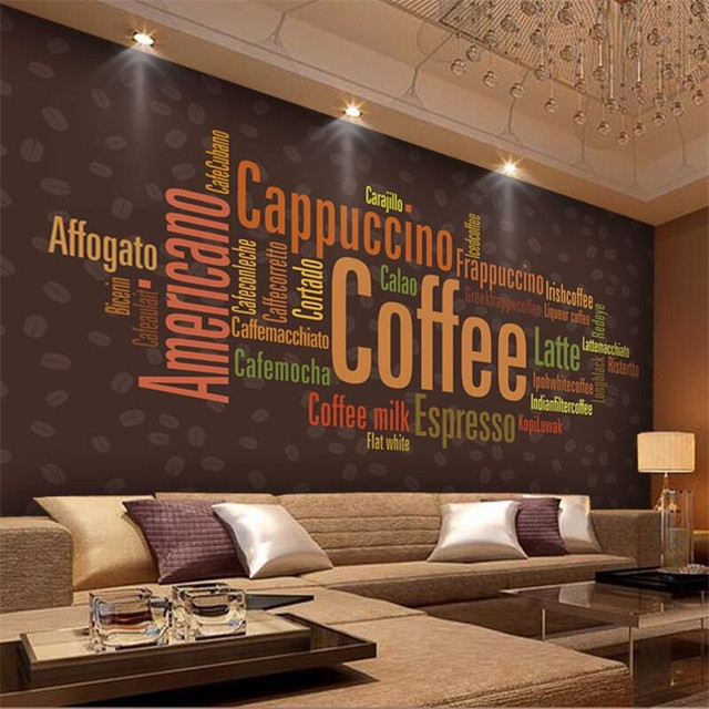Custom Photo Wall Mural Wallpaper 3d Luxury Quality HD Cafe Theme Restaurant Decorated Alphabet Large