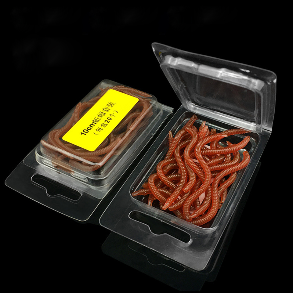 20Pcs/Lot 8cm/10cm Soft Fishing Lure Red Simulation Earthworm Artificial Fishing Bait Worms Fishing Tackle Pike 50pcs lot 3 5cm simulation earthworm red worms artificial fishing lure tackle soft bait lifelike red fishy smell lures 045